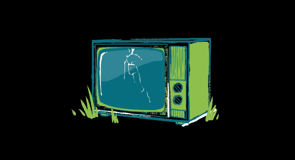 ilustracao-tv-desligada-tela-quebrada-com-mato
